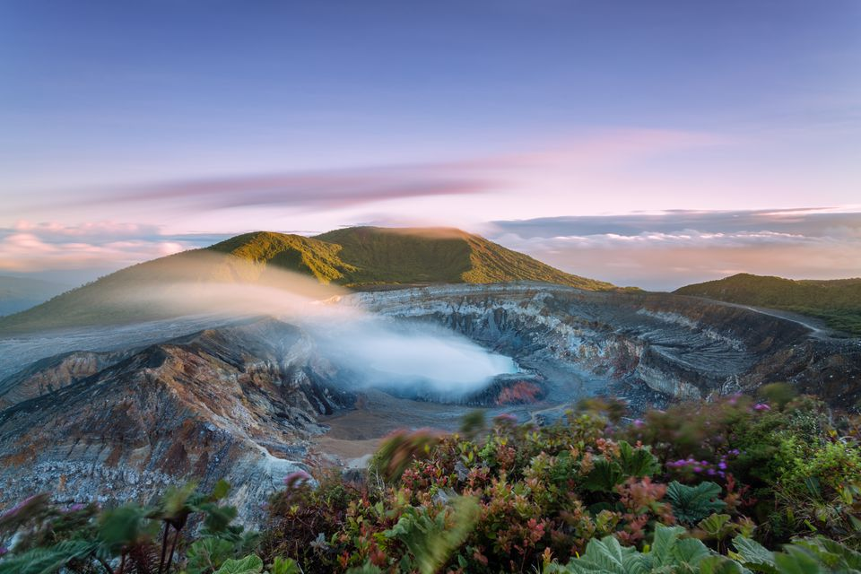 poas-volcano-crater-at-sunset--costa-rica || Blue Osa Travels